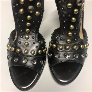 Marc Fisher Jeweled Leather Pewter Block Heels 6.5
